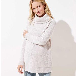 Loft Maternity Boucle Cowl Neck Tunic Sweater